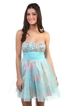 strapless animal print and chunky stone bodice prom party dress