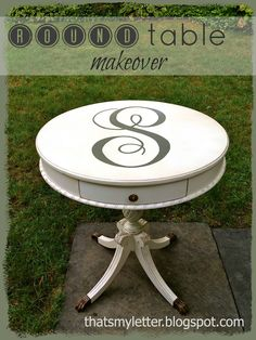 "That's My Letter: ""R"" is for Round Table, side table refinished"