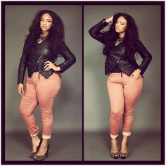 plus size beauty, anita marshal, pink pants, curvy women, outfit, plus size fashions, leather jackets, curvy fashion, colored jeans