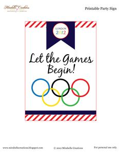 Mirabelle Creations: {Free Printables} and {Mirabelle Creations Party} -- Summer Olympics Party