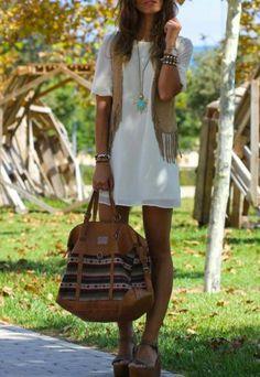 summer styles, boho chic, dresses, outfit, white, fring, big bags, shoe, boho fashion