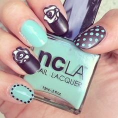 Polka dots and 3-D flowers by @nana nails