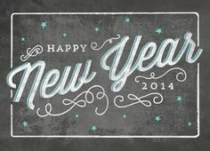 Happy New Year Chalkboard Art