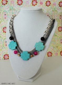 Contemporary Style Necklace with Gemstones, Pearls and Semi Precious Stones~