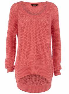 pink open stitch jumper