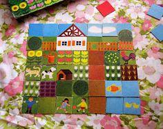 vintage game, build a picture, folk art