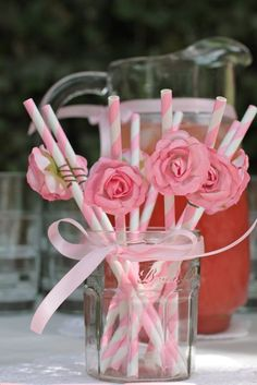 Party ● Baby Shower ● Pretty Pink straw idea