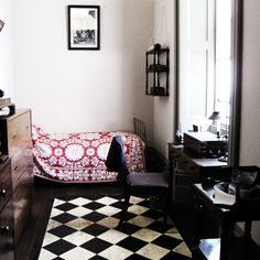 textiles and classic black and white tile