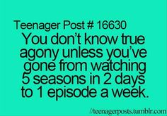 Or, you know, 2 seasons in one day and then after 2 years an episode a week for 3 weeks. But whatever, you hurt too, I'm sure.