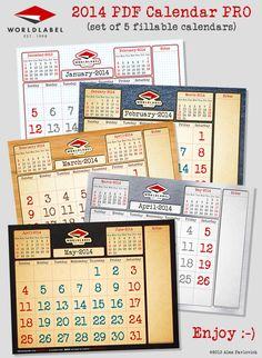 FREE CALENDAR: 2014 PDF fillable and editable calendar in 5 themes.. :)