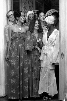 """models, including Pat Cleveland and Norma Jean Darden, join designer Betsey Johnson after her Spring 1974 show in November, 1973."