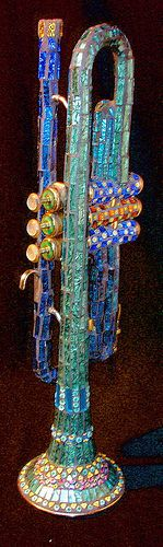 old musical instruments, mosaic music, brass instruments, beautiful instruments, old instruments, mosaic trumpet, music instrument, trumpet instrument