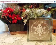 XMAS SALE Lighted Glass Block w/Vinyl Lettering by KWintersDesigns, $20.00