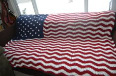 American Flag Crocheted Blanket by Knittybutton