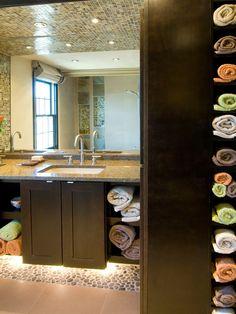 Storage Tower - 12 Clever Bathroom Storage Ideas on HGTV