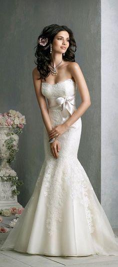 #Strapless Mermaid Style Wedding Dress