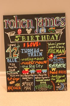 "Favorite Things Poster, 16"" x 20"" Children Room Decor, First Birthday, Chalkboard Style,"