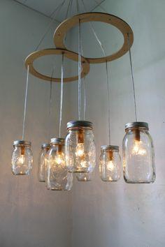 Mason Jar Canopy Chandelier - Upcyled Mason Jar Hanging Swag Lighting Fixture - BootsNGus Mason Jar Chandelier Lamp Design.via Etsy.