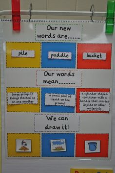 A way to show new vocab. Mrs. Ring's K-Crew Kids Rock!!: We Have Had a Very Busy Rockin Couple of Weeks