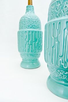 Pair of turquoise lamps