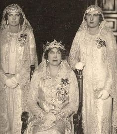 Queen Ena... resplendent in aquamarines...with her daughters.  This tiara was later remodeled (see earlier pins) to a series of interlinked circles and aquamarine drops