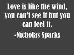 Nicholas Sparks love quote    -You can see it.  You get it through the eyes.