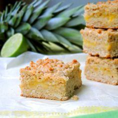 Tropical Oat Bars with Pineapple & Coconut. Lower in fat by using nonfat Greek yogurt to replace half of the butter.
