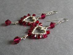 Affinity Earrings - Garnet and Ruby Red Wire Wrapped Swarovski Crystal and Sterling Silver Heart Chandelier Earrings, vintage inspired