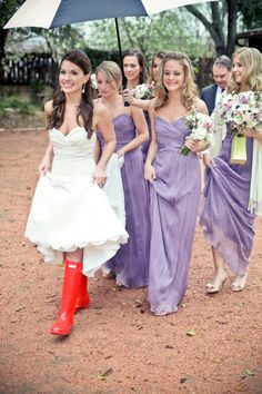 Amsale bridesmaid dresses light lavend, rainy wedding, bridesmaids dresses lavender, red boots, purple bridesmaid dresses, bridesmaid boots, rain boot, the dress, purple wedding