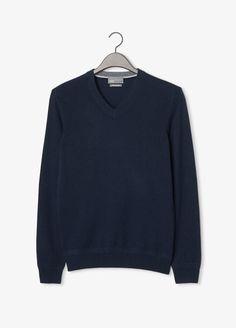 Heather Tipped V Neck Cashmere Sweater- Coastal Blue by Vince Men's