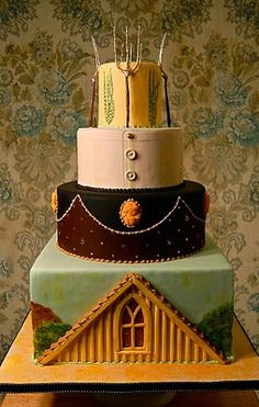 Cake based on the Grant Wood painting [[i LOVE this!!!]]