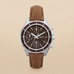 Dylan Leather Watch, Fossil