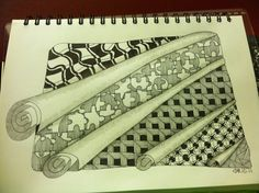 such a cool idea to make it look like roles of patterned paper...;-)) zentangle