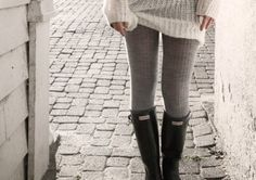 Sweater, sweater tights, hunter boots. YES!