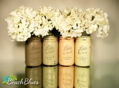Pumpkin Patch - Home and Wedding Decor - Painted and Distressed Mason Jars - Vase