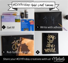 DIYFriday Gold Leaf Canvas - follow package directions to apply Art Minds Gold Leaf. Create customized holiday greetings