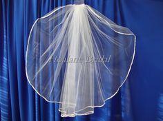 Veil Ribbon edge veil Waist length veil one layer by Hoalanebridal, $35.00 #weddings #veils #brides