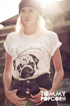 Pug Tshirt by TommyPopcorn on Etsy, £20.00