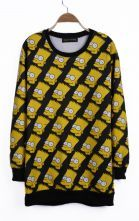 #SheInside  Black Simpson Patterns Print Ribbed Long Sleeve Sweatshirt
