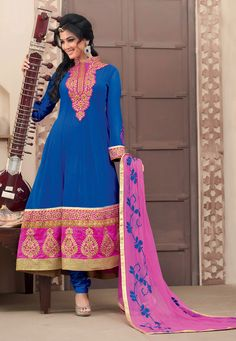 Blue Faux Georgette Churidar Kameez Online Shopping: KGB1869