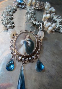 'divine love' vintage asseblage necklace with Virgin Mary portrait pendant by The French Circus, $285.00