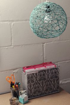 Yarn Ball Lamp - I need to do this as I have the perfect light piece with no shade