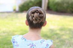 3D Flower Bun Updo #CGH3Dflowerbun #cutegirlshairstyles #flower #bun #sporthair #hairstyles #hairstyle #dancehair #updo