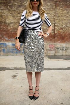 Sparkle + stripes... I love the casual & dressy combination of this outfit!