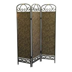 Antique Gold Three-Panel Room Divider #BELLHOT12 #BELLANN12