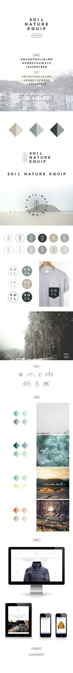 SOIL NATURE EQUIP by Eliane Cadieux, | Look at the rest of the images, great color scheme, typography, all the elements | #stationary #corporate #design #corporatedesign #identity #branding #marketing repinned by www.BlickeDeeler.de | Visit our website: www.blickedeeler.de/leistungen/corporate-design