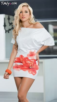 Chic and stylish! this sexy white mini dress features an off the shoulder silhouette with short straight cut sleeves, flowing bust and fitted bodice with straight hemline and vibrant hibiscus print. Sale Price:    $35.95