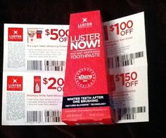 Luster toothpaste coupons