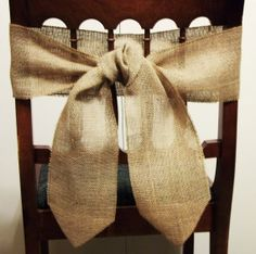 Burlap chair bow