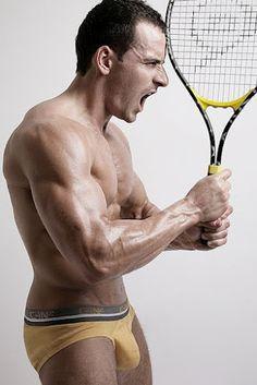 Model Jon Shield Has Tennis Raquect Rage